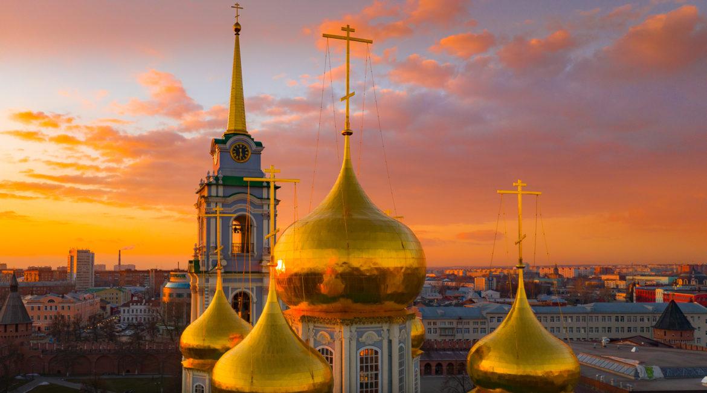 Горят купола на закате